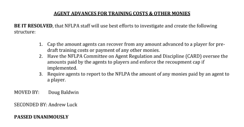 Latest NFLPA memos