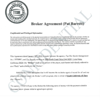 Pat Barrett Broker Agreement - Page 1